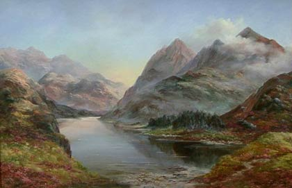 a painting of high mountains dropping steeply down to a calm, still loch.