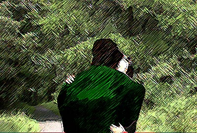 a rather abstract image of a man and a woman embracing on a tree-lined lane.