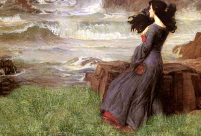a grey rough sea blending in with a green sward.  A dark-haired woman is standing at the edge of it.